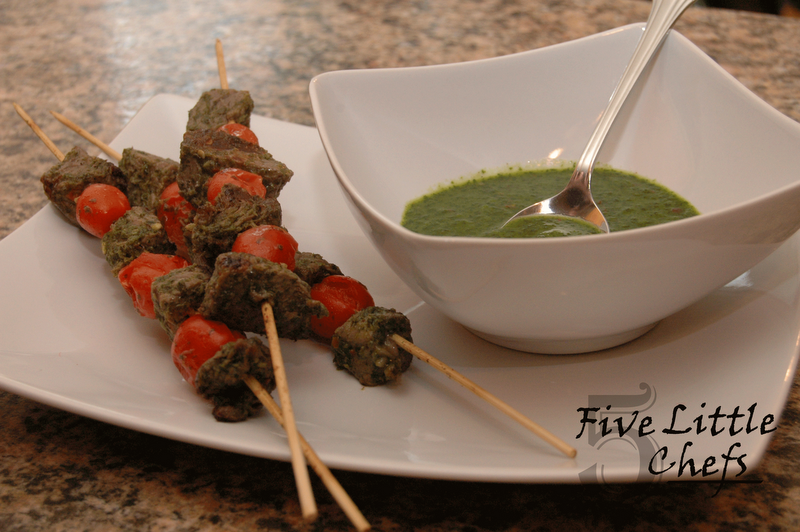 Beef Skewers with Cherry Tomatoes and Parsley Sauce