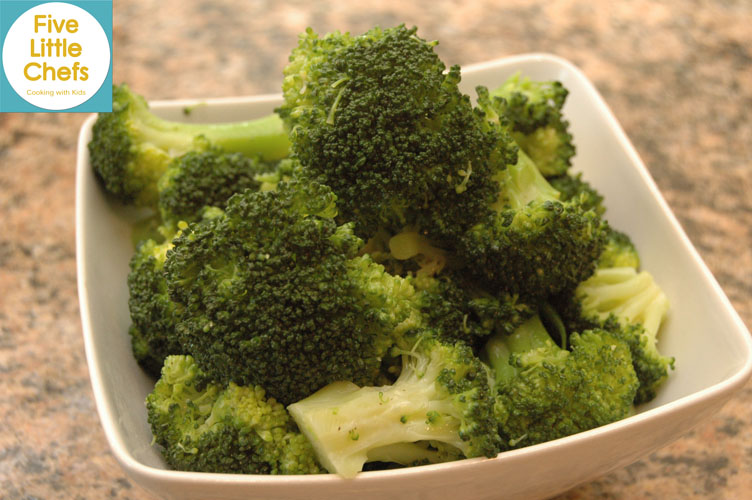 Broccoli Florets with Olive Oil from fivelittlechefs.com