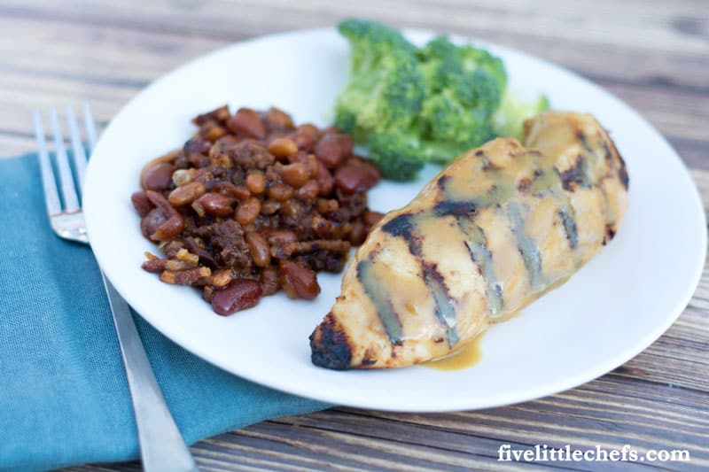 Easy Grilled Honey Mustard Chicken is tender & juicy! This can be grilled for the perfect summer BBQ. Save some for a salad or a wrap the next day. fivelittlechefs.com