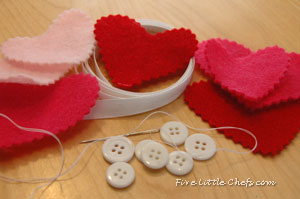 Supplies for heart garland