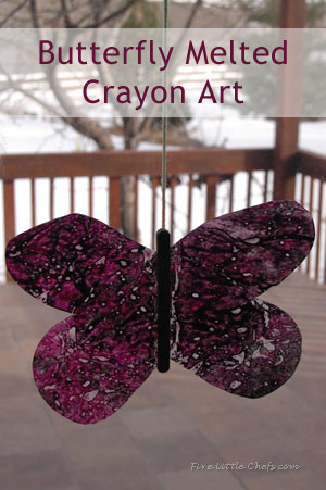 butterfly melted crayon art