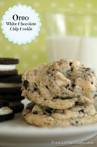 Oreo White Chocolate Cookie from fivelittlechefs.com #recipe #kidscooking
