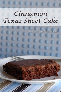 Cinnamon Texas Sheet Cake from fivelittlechefs.com. A wonderful alternative to a regular chocolate cake.Just a hint of cinnamon! #recipe #cake #cinnamon