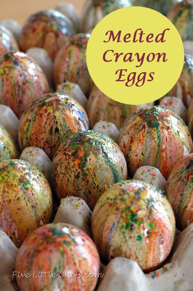 Different types of easter scavenger hunts five little chefs - Melted crayon eggs coloring easter eggs