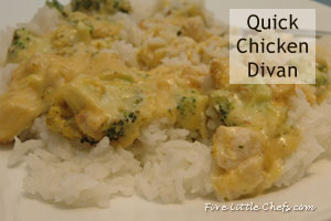 Quick Chicken Divan from fivelittlechefs.com #chicken #recipe