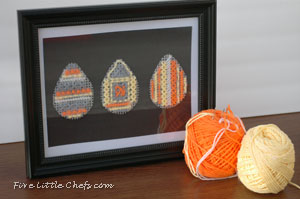 Stitched Easter Eggs FiveLittleChefs.com Learn 3 simple stitches while decorating your own plastic canvas #Stitched #Easter #Egg. Create, learn, and enjoy!