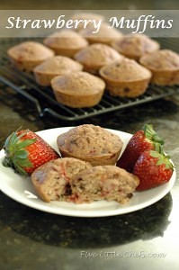 Strawberry Muffins from fivelittlechefs.com An easy delicious recipe to use up those fresh softer strawberries about to go bad.. #strawberry #muffin #recipe