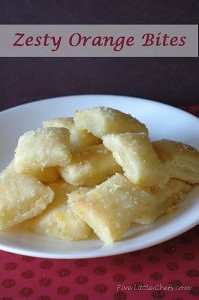 Zest Orange Bites from fivelittlechefs.com is a quick and easy dessert or snack if you prefer!Just 20 minutes to make! #recipe #zesty #orange bites #dessert
