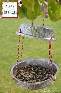 Fun and simple DIY bird feeder from fivelittlechefs.com Fun for the summer! Easy to make with dollar store or recycled items.