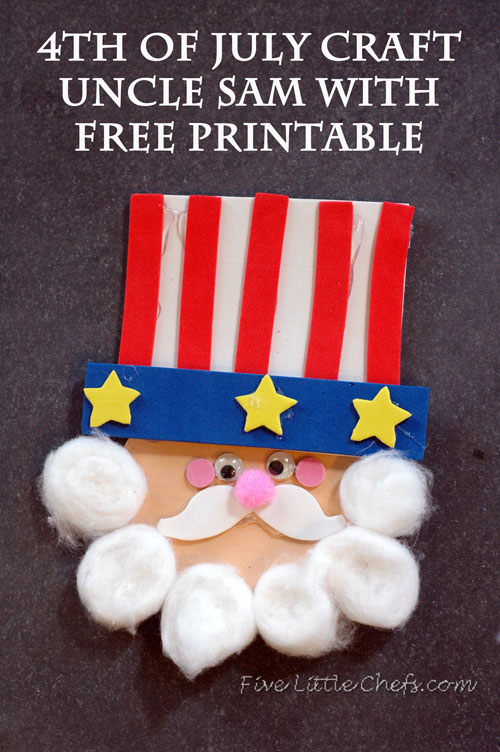Uncle Sam Craft from fivelittlechefs.com A fun 4th of July craft! #unclesam #kidscrafts