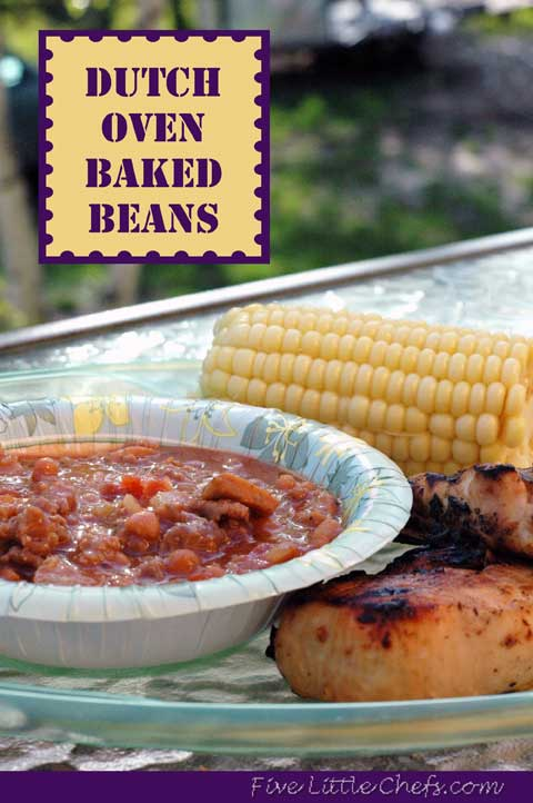 Dutch Oven Baked Beans from fivelittlechefs.com #dutchoven #beans #recipe