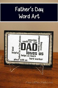 A fun custom father's day gift your Dad will love from fivelittlechefs.com #fathers day #word art #kids crafts