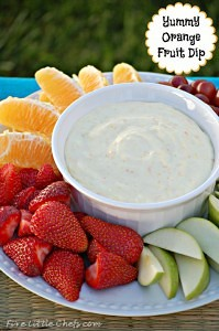 Orange Fruit Dip by fivelittlechefs.com - a super easy and delicious fruit dip perfect for summer bbq's and picnics #recipes #appetizers #orange #fruit #dip