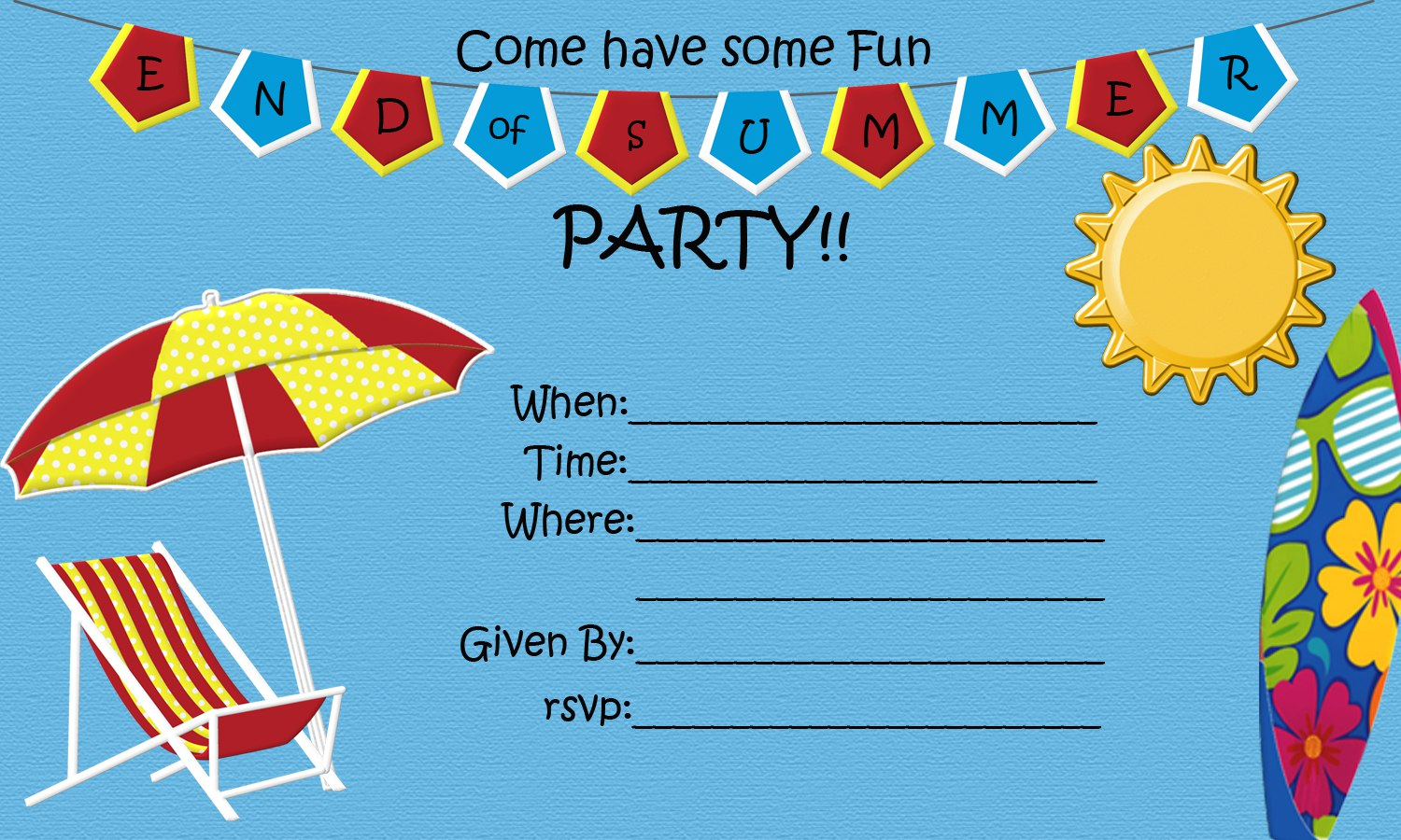 End of Summer Party FREE Printable – Free Summer Party Invitation Templates