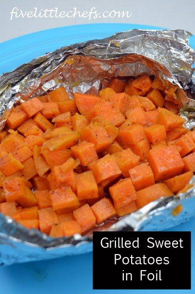 Grilled Sweet Potatoes in foil from fivelittlechefs.com is a fun way ...