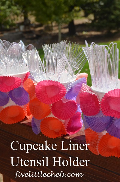 Cupcake Liner #Utensil Holder from fivelittlechefs.com #kidscrafts