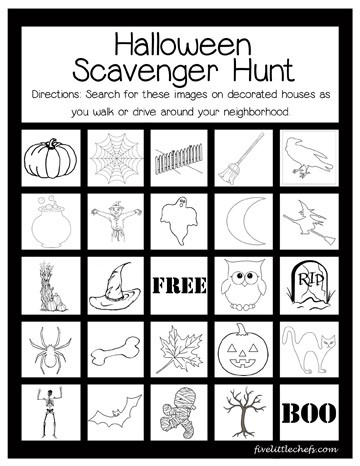 A fun Halloween scavenger hunt played on a walk or in the car from fivelittlechefs.com. Find these images on decorated houses or yards around your neighborhood. #halloween