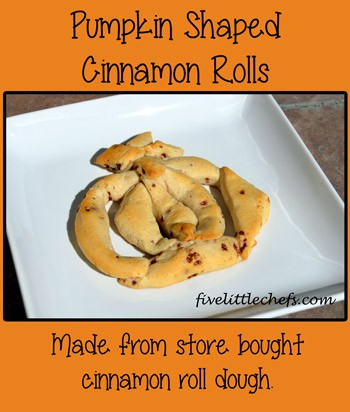 Pumpkin Shaped Cinnamon Roll from fivelittlechefs.com #pumpkin #kidscooking