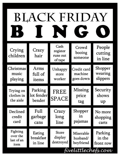 Black Friday Bingo from fivelittlechefs.com Play this game while you are standing in line waiting for your turn to check out. #blackfriday #bingo