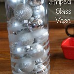 Using Martha Stewart Glass Etching paint and some tape, creating a striped glass vase is easy. #MSholiday