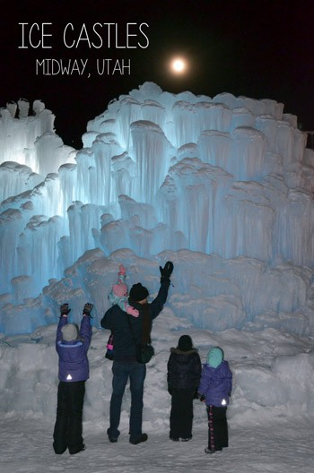 Ice Castles in Midway, Utah is a fun outing. It is constantly changing and captures the attention of all ages. Read our experience at fivelittlechefs.com #icecastles
