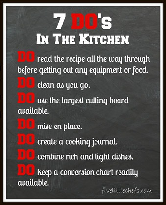 7 DO's in the kitchen from fivelittlechefs.com #cookingschool