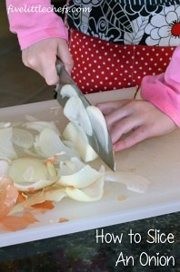 Onions are used in so many recipes. Knowing how to peel, slice and chop an #onion will aid in your prep time. #kidscooking #cookingschool