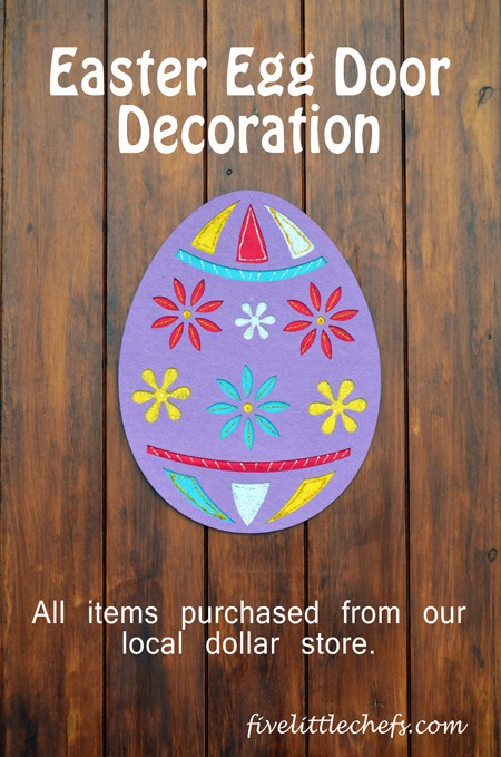 Easter Egg Door Decoration from fivelittlechefs.com #easter #kidscrafts