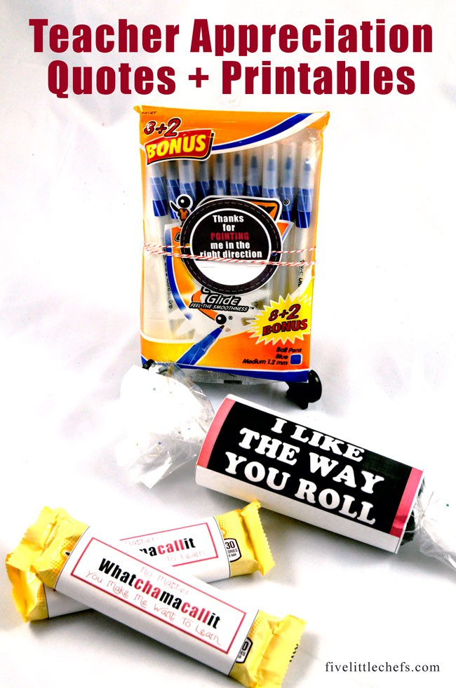 Teacher appreciation week is when we celebrate our amazing teachers. They do so much for our kids we like to thank them with wonderful teacher gifts. Here are four printable gift ideas. For #2 we made a teacher appreciation quote based on her favorite candy bar!