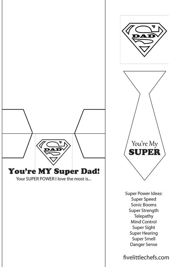 Father S Day Card Super Dad Five Little Chefs