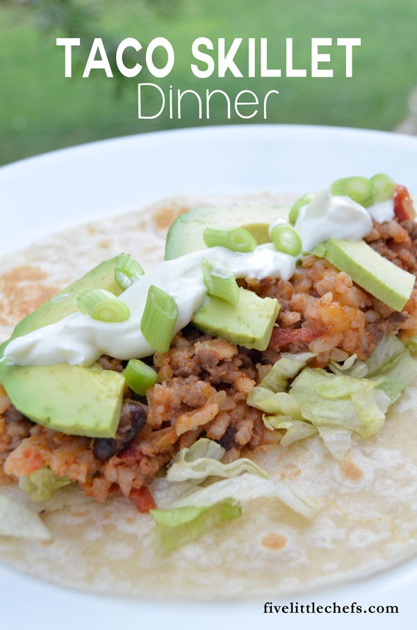 Are you running to sports practices as much as I am? This Taco Skillet Dinner is an easy dinner recipes to compile as a burrito to take on the go.