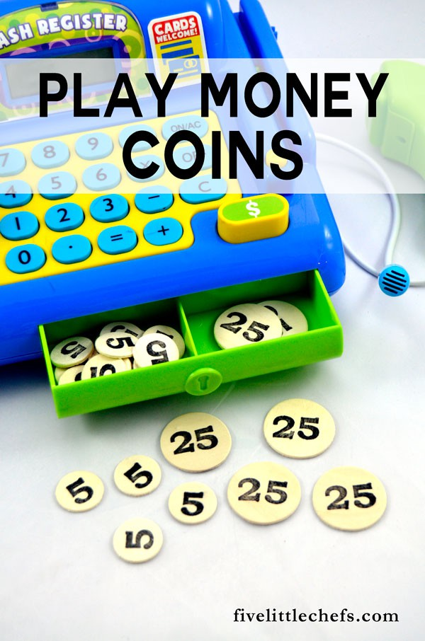 DIY play money coins for your play kitchen. Super easy to make!