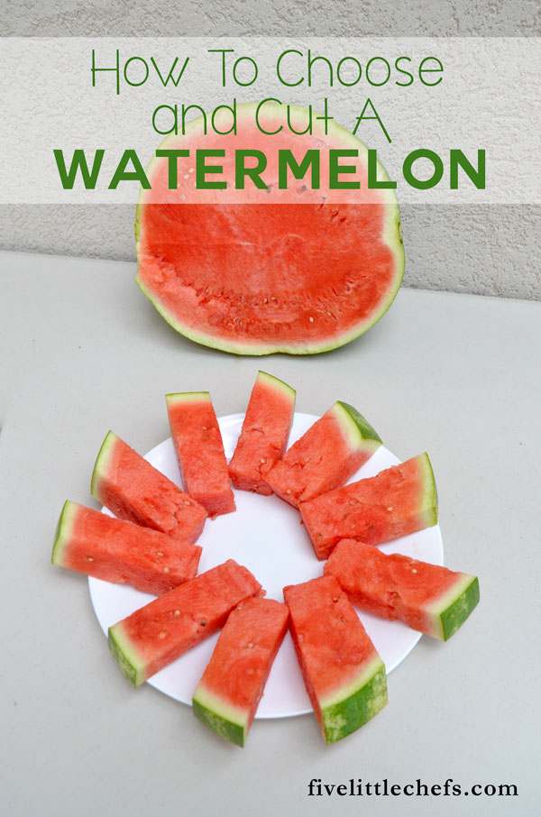 Watermelon spears how to cut a watermelon five little for What parts of a watermelon can you eat