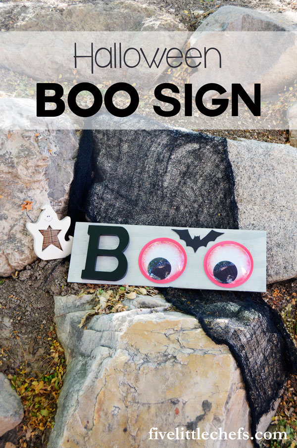 Halloween signs are fun for the season. This BOO sign is fun with wiggly eyes.