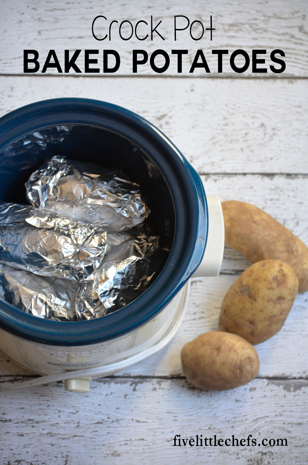 How to cook baked potatoes in a crock pot. A great way to make baked potatoes while freeing up space in your oven.