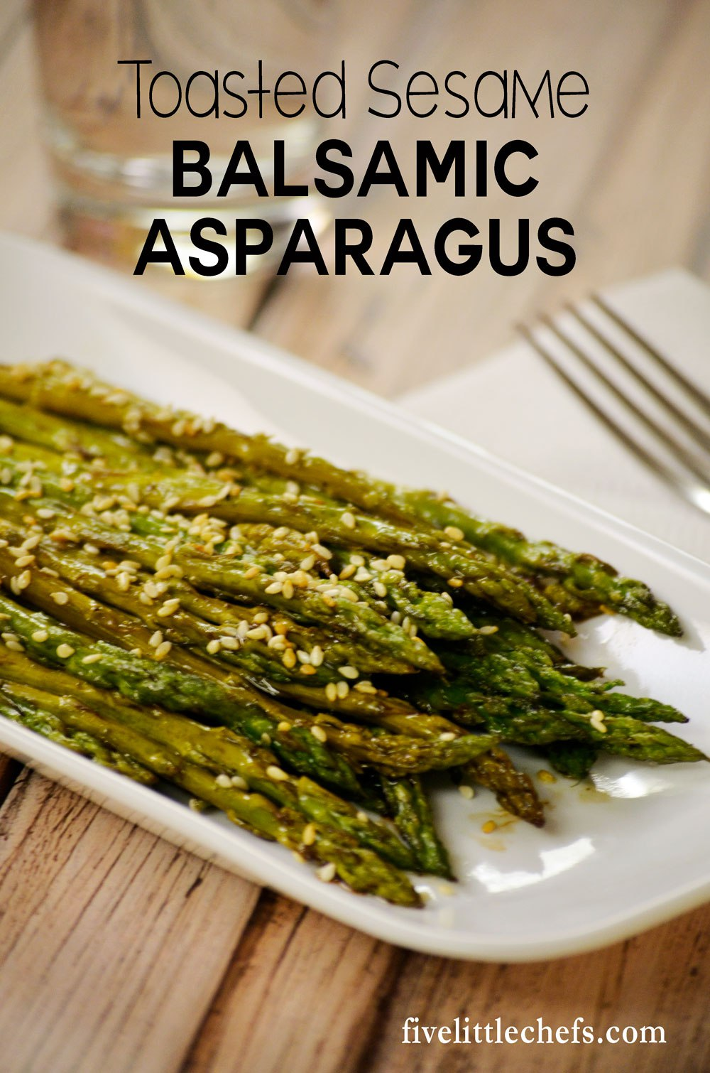 Toasted Sesame Balsamic Asparagus is simple to prepare just before your meal is served. Roasting it results in a nutty flavor with crisp stalks.