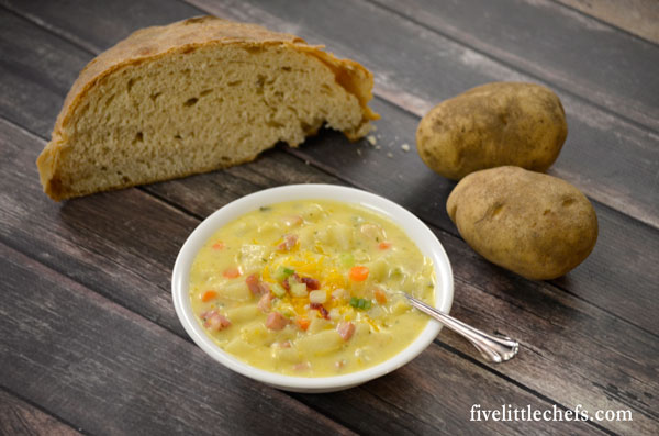 Ham and cheese potato soup is a simple and easy recipe that can be completed in about an hour. It is creamy and delicious.