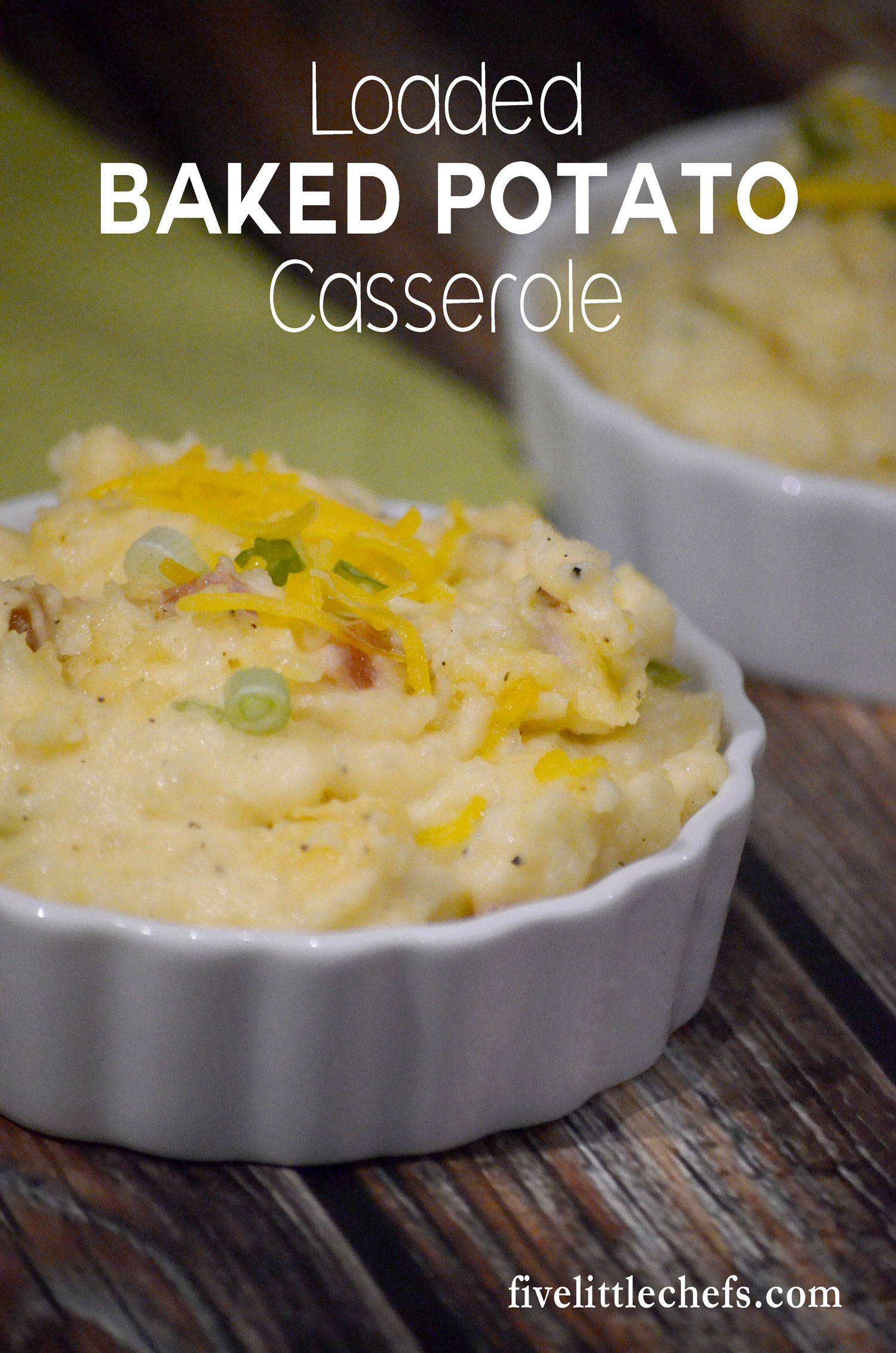 Loaded Baked Potato Casserole is easy to put together. A creamy and cheesy casserole made with bacon, cheese, green onions, potatoes and more.