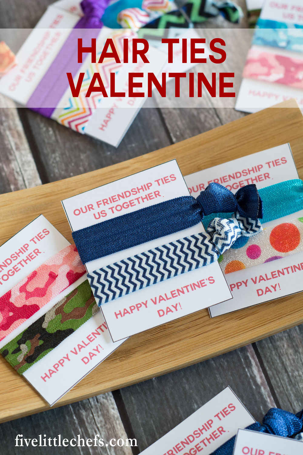 Hair ties classroom valentine ideas for kids are cute, cheap and easy. Use the printables then add a DIY no crease hair tie. A great valentine's day idea for friends and family. Works as a fun no candy option for school.