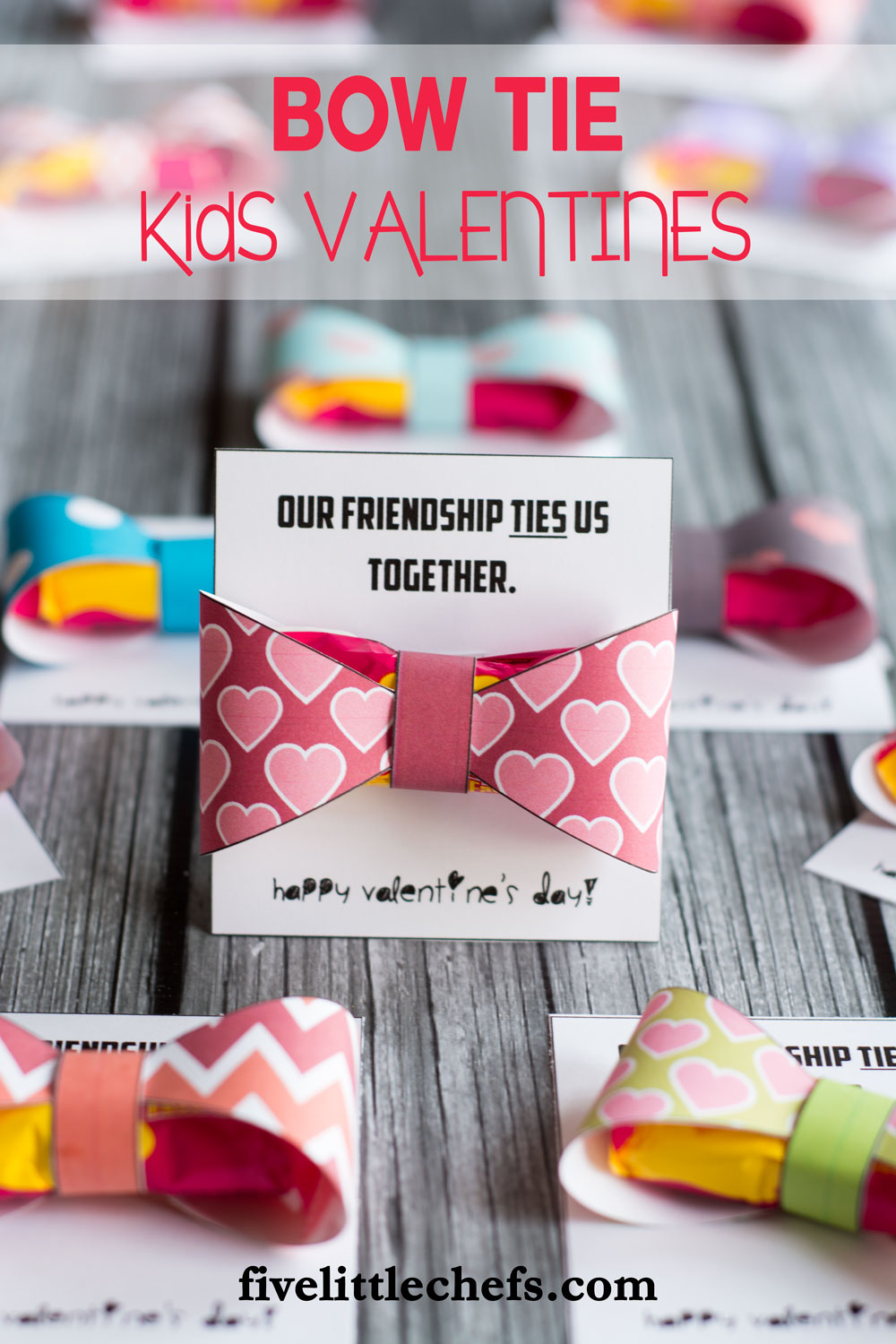 Bow ties classroom kids valentines ideas are cute, cheap and easy. Use the printables then add a two pack starburst candy. A great valentine's day idea for friends. fivelittlechefs.com