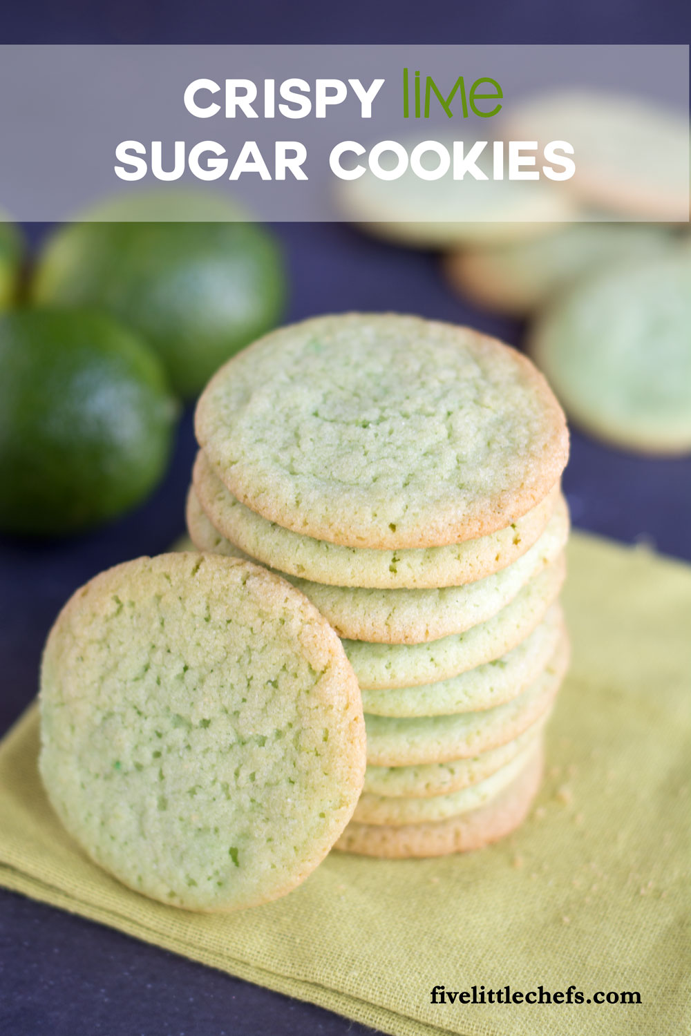 Crispy Lime Sugar Cookies are sweet and refreshing. This recipe is a perfect treat for families or parties. Tint them green for St. Patrick's Day.