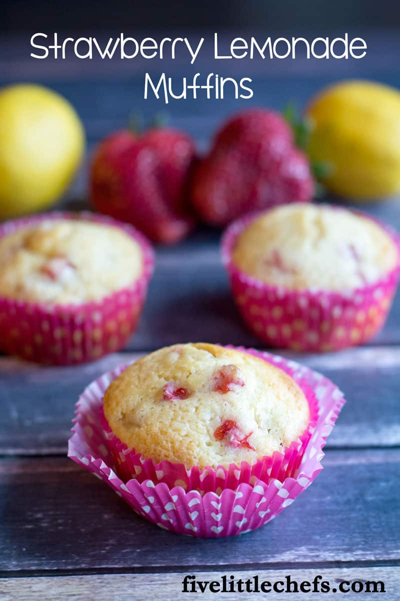Strawberry Lemonade Muffins are tangy from the lemon juice and sweet from the finely chopped pieces of fresh strawberry. Perfect to make when strawberries are cheap in the spring. These make a delicious breakfast, brunch or snack anytime of the day. fivelittlechefs.com