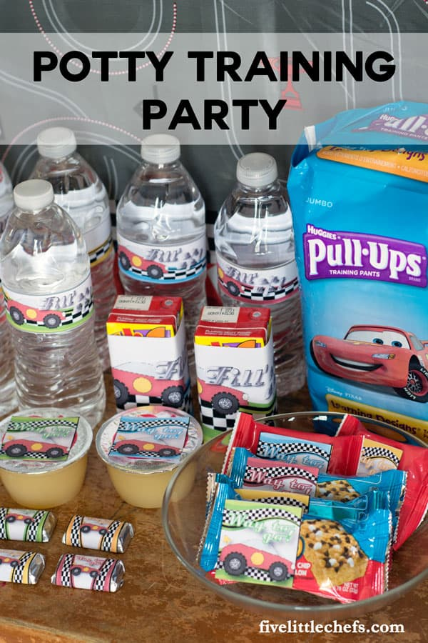 Thinking about potty training? We had a Potty Training Party with Huggies® Pull-Ups® Learning Designs®. It really was a party with balloons, drinks, treats and lots of praise. Grab these free printables for your potty training party. fivelittlechefs.com
