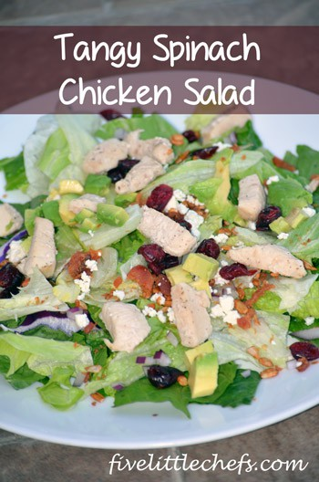 Tangy Spinach Chicken Salad from fivelittlechefs.com #salad #recipe