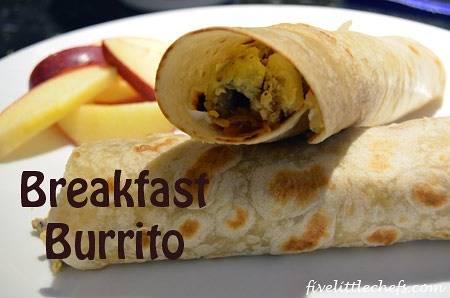 Breakfast Burrito from fivelittlechefs.com #burrito #kidscooking #HolidayHelper