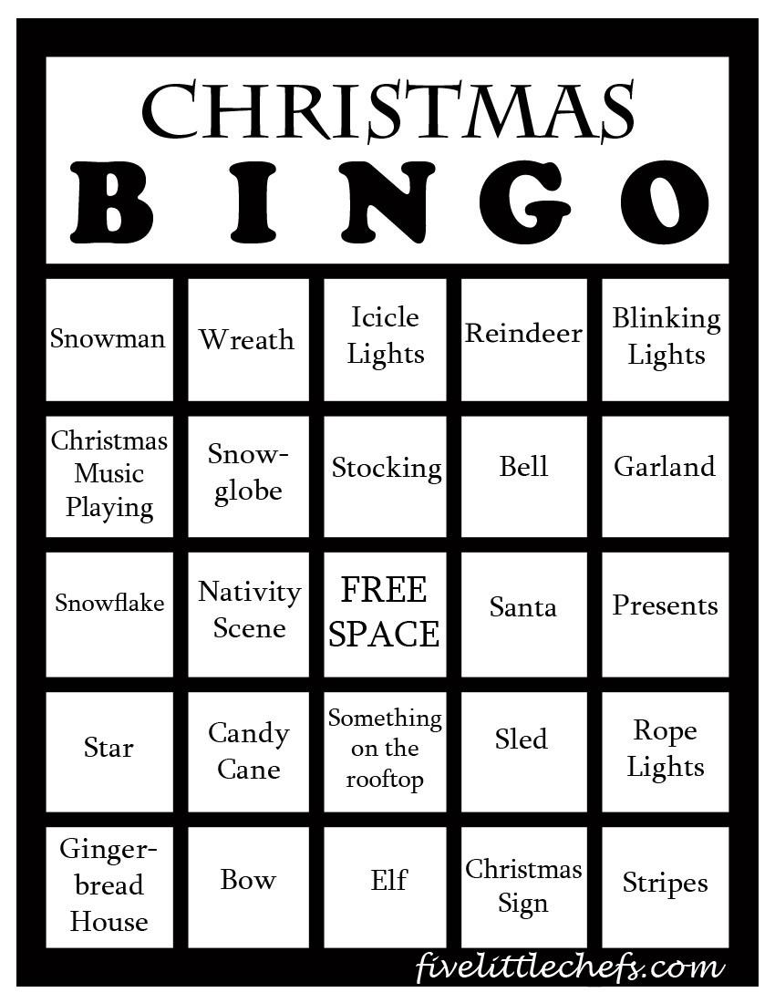 Christmas Bingo from fivelittlechefs.com #bingo #christmas