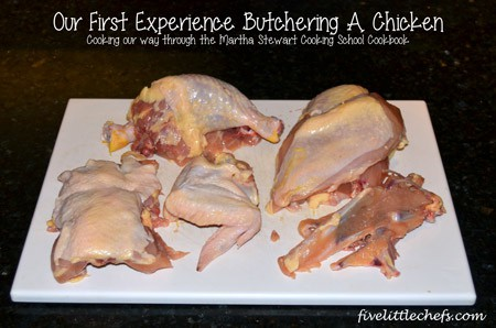 Our first attempt at cutting up a chicken by following Martha Stewart's instructions for #cookingschool. #kidscooking #chicken