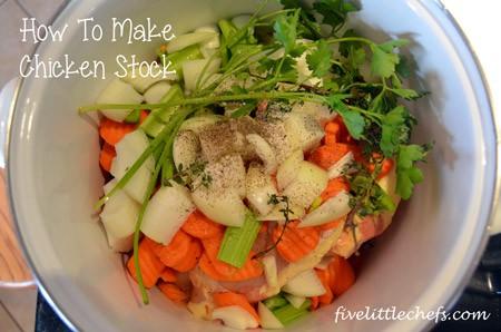 Following the Martha Stewart Cooking School Cookbook we learned to make chicken stock. #chickenstock #cookingschool #kidscooking