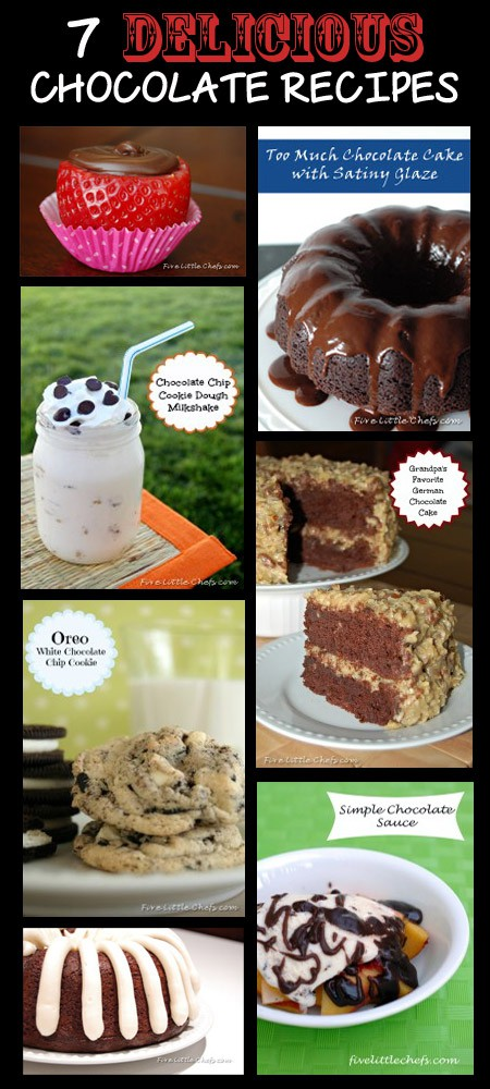 7 Delicious Chocolate Recipes from fivelittlechefs.com #chocolate #valentinesday