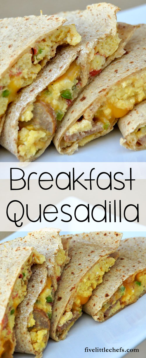 Sausage & Egg Breakfast Quesadilla - One of those easy breakfast recipes my kids like to help make for any meal.